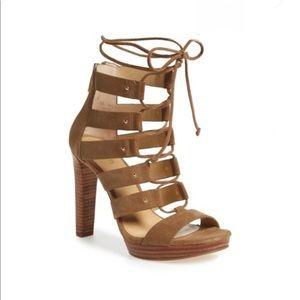 Michael Kors green suede lace up heels